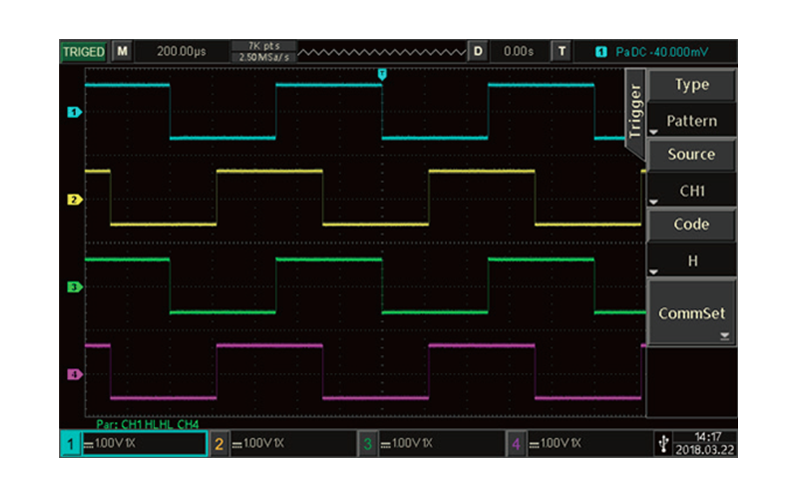 Possess rich triggering and decoding functions, as well as waveform recording and playback functions