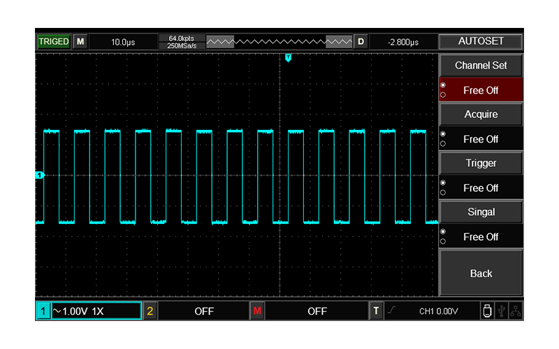 Wider display range and multiple frequency square wave options